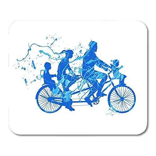 Alfombrillas de ratón Bicicleta Azul Paseo Familiar en tándem Bicicleta Salpicadura Pintura...