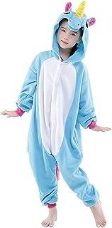 ad2a39353689d Tongchou Pyjama Combinaison Animaux Polaire Pour Enfant Deguisement Enfant  Licorne Bleu Taille 140