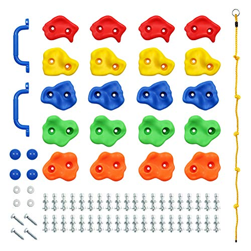 Rainbow Craft DIY Monkey Rock Climbing Wall for Kids Outdoor - Climbing Holds Set of 20pc Buddles, 2pc Handles & 1pc 8ft Knotted Climbing Rope - Kids Rock Climbing Toddler Rock Wall Climbing Kit