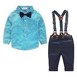Yilaku Baby Strampler Jungen Bekleidungssets 4tlg Langarm Karierte Hemd + Hose mit Hosenträger+ Fliege Anzug Gentleman Festliche Taufe Hochzeit Baby Kleidung Für Jungen