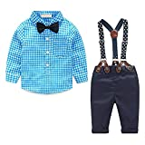 Conjunto bebé niño Camisa de Manga Larga + Pantalones + Pajarita + Tirantes para Traje de bebé niño Ropa de Fiesta Bautizo Vestido de Boda