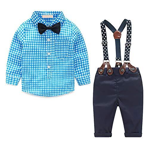 Yilaku Jungen Kleidung Set Kariertes Hemd & Fliege & Hose & Hosenträger 4 Stück Set Baby Jungen Formelle Gentleman Anzug Set Kinder Taufe Outfit Set