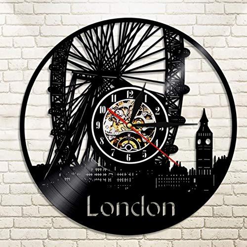 YANGSHUANG Handmade Vinilo Pared Reloj Rueda de la Fortuna de Londres Reloj de Pared de Vinilo Reloj de Pared de Arte Creativo Hecho a Mano, Movimiento de Cuarzo silencioso, diámetro 30 cm