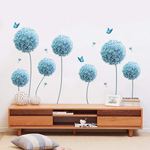 ZIUKENR - Adhesivo decorativo para pared, diseño de diente de león, diseño de mariposa, para salón, dormitorio, sofá, TV, fondo de pared