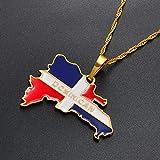 NCDFH Collares con Colgante de Bandera de Mapa dominicano, joyería de Mapa de país dominicano, Color Dorado, Color Plateado, Cadena Fina de 60 cm