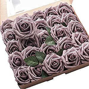 Floroom Artificial Flowers 25pcs Real Looking Dusty Rose Fake Roses with Stems for DIY Wedding Bouquets Bridal Shower Centerpieces Floral Arrangements Party Tables Home Decorations