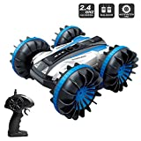 Amphibious RC Stunt Car 2.4Ghz - 4WD Water and Land Remote Control Boat Truck Monster Double Sided Rotate, 360 Degree Spinning and Flips Land Wateproof elecrtric Car Toy.(Large)