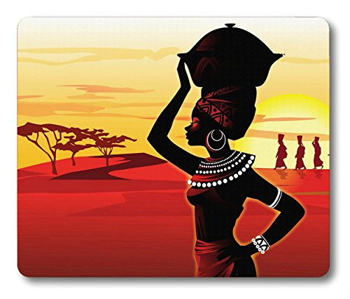 Smooffly Nonslip Gaming Mouse Pad Custom,African Woman Mouse Pad (Red Yellow)