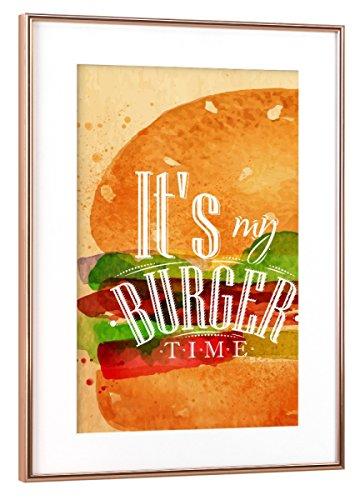 artboxONE Poster mit Rahmen Kupfer 60x40 cm Burger Aquarell von Anna Kozlenko - gerahmtes Poster