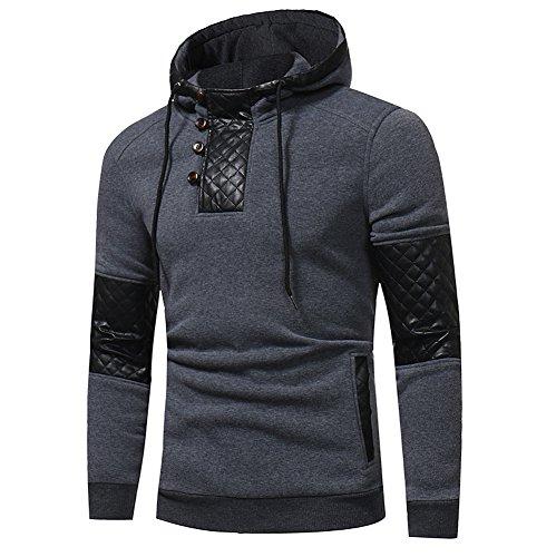 Xmiral Herren Hoodie Kapuzenpullover Herbst und Winter Baumwollmischung Sweatshirt-Jacke(L,Grau)