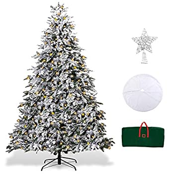 XmasExp 7.5ft Pre-Lit Snow Flocked Artificial Christmas Pine Tree Holiday Decoration with 500T Warm LED Lights Storage Bag Topper