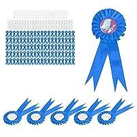 ブリキバッジピン、パーティーの集まりのためのイースターのための誕生日バッジ耐久性のある100セット(青)