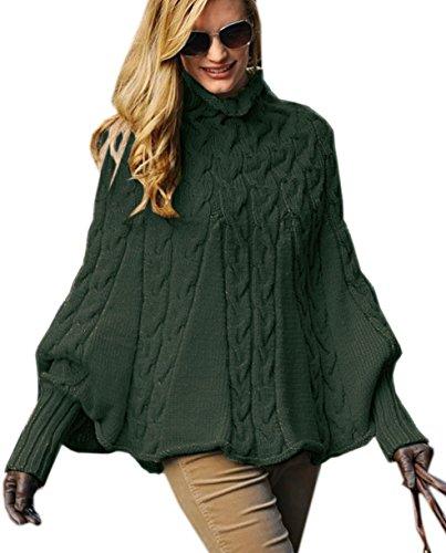 Mikos*Eleganter Damen Poncho Rollkragenpullover Damen Pullover Strickponcho Cape Zopfstickmuster Warm Herbst Pullover (641) (Khaki)