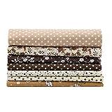 Tessuto di cotone artigianale 7 pezzi Tessuto di cotone 25 * 25 cm Kit di biancheria da letto pre-tagliata con piazze assortite di floreali fai-da-te Quarters per quilting cucito patchwork(25*25)