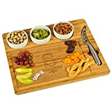 Custom Personalized Engraved Bamboo Cutting Board for Cheese & Charcuterie - includes 3 Ceramic Bowls & Cheese Knife & Markers - by Picnic at Ascot -Patent Pending -
