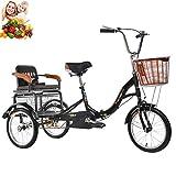 Dreirad 16 '' Erwachsene 3-Rad-Bikes Kinder mit hinterem Korb und umklappbarem Dreirad auf dem Rücksitz Komfortabler Roller für ältere Damen Fahrräder 150 kg Ladung Kinder abholen