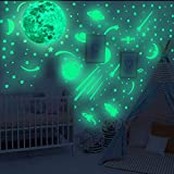 Glow in The Dark Wall Decals, Glowing Spacecraft Rocket Stars Stickers for Ceiling Wall Decals, Perfect for Kids Nursery Bedroom Living Room(810 PCS)