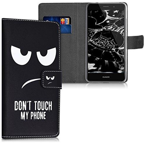 kwmobile Funda Compatible con Huawei Y7 / Y7 Prime (2017) - Carcasa de Cuero sintético Don't Touch my Phone - con Tarjetero