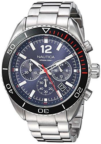 Nautica Herren Analog Quarz Uhr mit Edelstahl Armband NAPKBN004