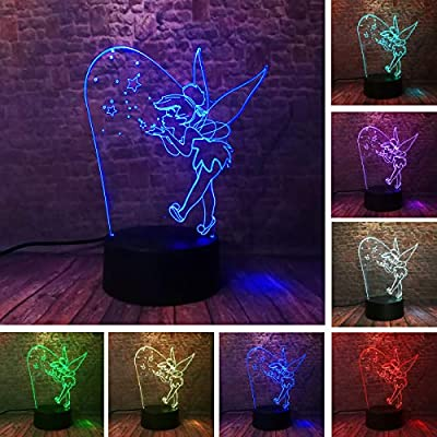 Fanrui Cartoon Cute Magic Elf Tinker Bell Miss Bell Rare Peter Pan Snowflake Tinkerbell 7 Color Change IR Charm Smart Touch Control 3D LED Night Lamp Girls Daughter Child Home Decor Xmas Party Present