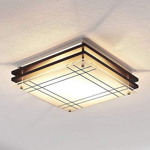 Lámpara de techo 'Thees' (Moderno) en Marrón hecho de Madera e.o. para Salón & Comedor (2 llamas, E14, A++) de Lindby | lámpara de techo de madera, lámpara de techo, lámpara