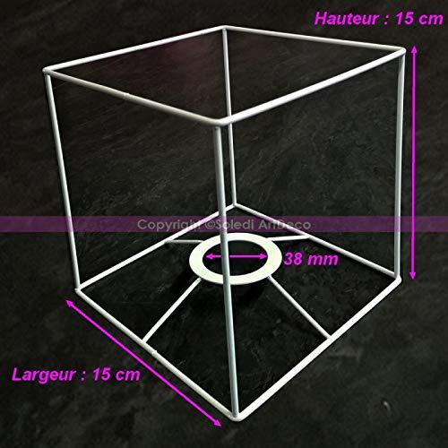 Lealoo frame vierkant wit voor lampenkap, hoogte en breedte 15 cm, voor fitting 38 mm