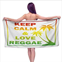 Bensonsve Bath Towels Egyptian Cotton Rasta,Keep Calm and Love Reggae Quote in Ombre Rainbow Colors Music Themed,Pale Green Red and Yellow,W28 xL55 for Kids