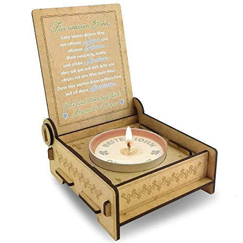Candle IN THE BOX Sohn von Eltern, Bester Sohn der Welt, 18 Geburtstag, Abitur, besonderes Geschenk für Sohn von Eltern, Geschenk Erwachsener Sohn