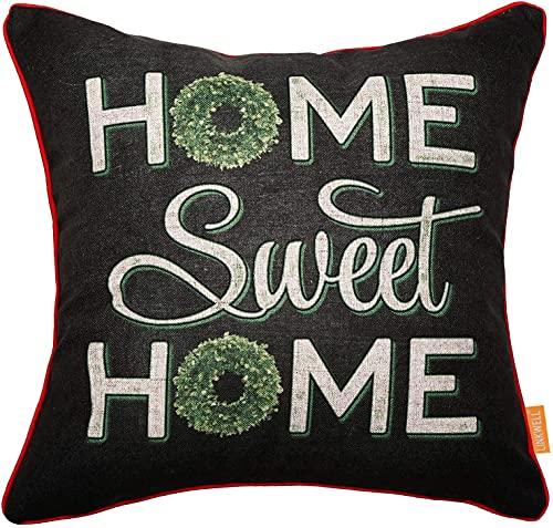 QUEMIN Lavagna Art Home Sweet Home Fodera per Cuscino 18x18 Pollici Fodera per Cuscino Decorativo con Ghirlanda di Foglie Verdi per Divano Camera da Letto Divano Auto CC1728
