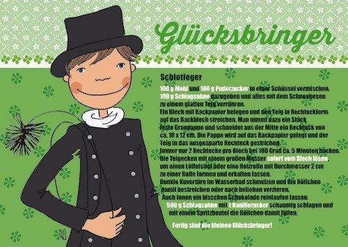 Postkarte A6 +++ REZEPTE von modern times +++ GLÜCKSBRINGER +++ ELKE SCHILLAI KARTENKÜCHE