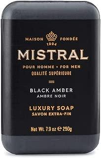 Mistral Men's Black Amber Bar Soap, Black Amber