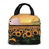 MQJJ Wild Sunflowers Bolsa de almuerzo de neopreno Fiambrera aislada Ligero Impermeable Almuerzo Tote Bolsas más frescas con cremallera Cl