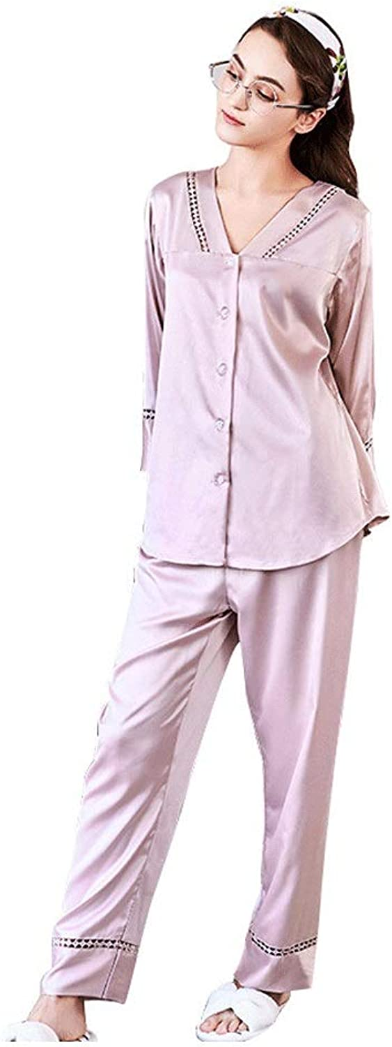 YUNHAO Spring and Summer LongSleeved Trousers Pajamas Ladies Solid color Thin Satin Home Service Suit A (color   Pink, Size   XL)