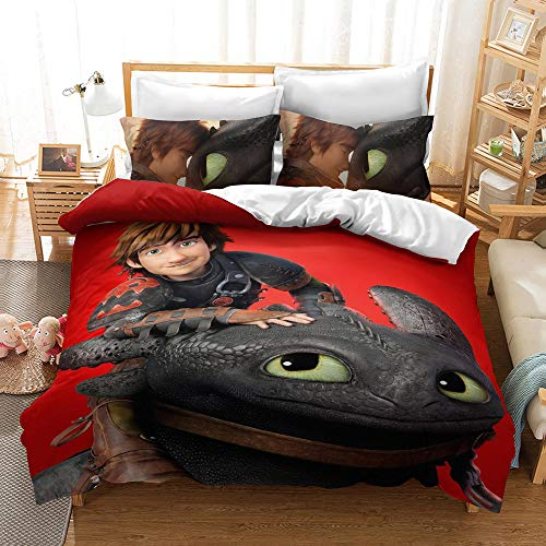 Meiju Duvet Cover Set for Boy Girl Single Double King Bed, 3D Printed Bedding Set Adults Teenager Children Kids Bedroom Microfiber Duvet Set with Pillowcases (How to Train Your Dragon 4,140x200cm)