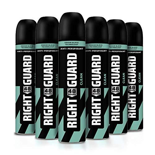 Right Guard Desodorante para hombre, Total Defence 5 Clean 48H Spray antitranspirante de alto rendimiento, multipack 6 x 250 ml