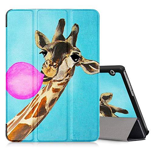 ZhuoFan Hülle für Huawei MediaPad T3 10 Tablette, MediaPad T3 10 9.6 Zoll Cover Magnetisch PU Leder Tasche Ständer Schutzhülle mit Muster, Intelligent Abdeckung Schlafen/Wachen,Giraffe Pink