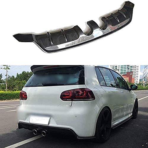 XDHN Real Carbon Fibre Car Rear Spoiler Rear Lip Bumper Diffuser Spoiler Bumper Protector for Golf 6 Vi MK6 R20 2010-2013 Rear Fins Chin Fins Guar Shark Style Diffuser