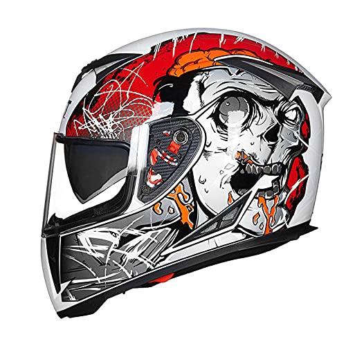 Casco de motocicleta VIIPOO con visera doble para mujer, hombre, adulto, deportes al aire libre, G-L (57 ~ 58 cm)
