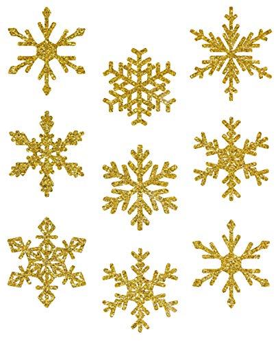 AVERY doelvorm art. 52950 vensterfoto's Kerstmis 9 sneeuwvlokken (raamsticker, raamfolie, raamdecoratie, kerstdecoratie raam, verwijderbaar, folie beglimmerd) goud
