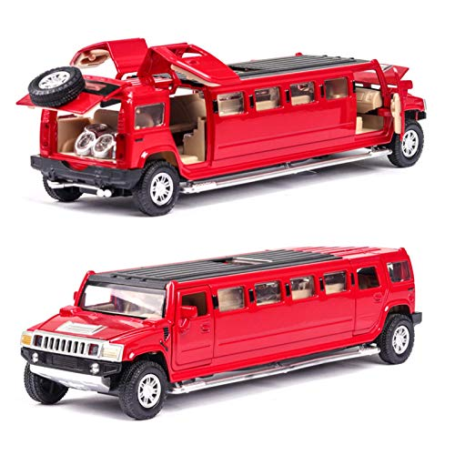 NMBD Diecast & Toy Vehicles high Simulation 1:32 Alloy for Hummer Limousine Metal diecast car Model Pull Back Flashing Musical Kids Toy Vehicles (Color : Red)