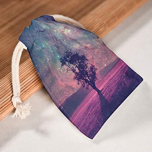 RNGIAN Romantische Galaxie-Baum-Beutel, Bedruckt, Aktivitäten für Wandern, 6 Stück, weiß, 12 * 18cm