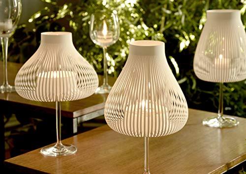 MISS MOLLY 4er Set WEIß, Papier Lampenschirme für Weingläser als Teelicht Tischleuchte, Teelichtglas Kerzenständer Kerzenhalter, Geburtstag Jubiläum Hochzeit Dekoration, originelle Geschenkidee