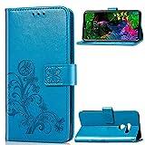 MDYHMC YXCY Aydd Lucky Clover Flowers Pattern Pattern Funda de Cuero para LG G8 Thinq, con Soporte y tragamonedas y Billetera y Correa de Mano (Negro) (Color : Blue)