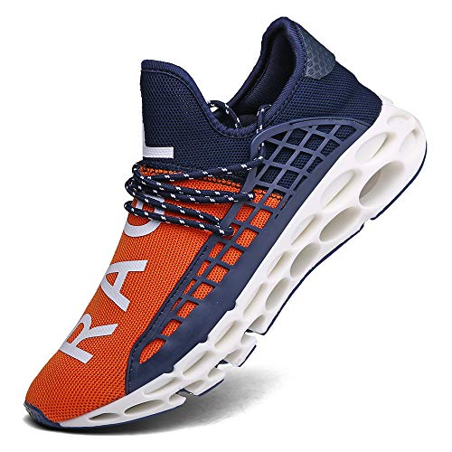 FUSHITON Sportschuhe Herren Laufschuhe Damen Turnschuhe Freizeitschuhe Atmungsaktiv Sneakers Mode Straßenlaufschuhe, Orange-d, 41 EU