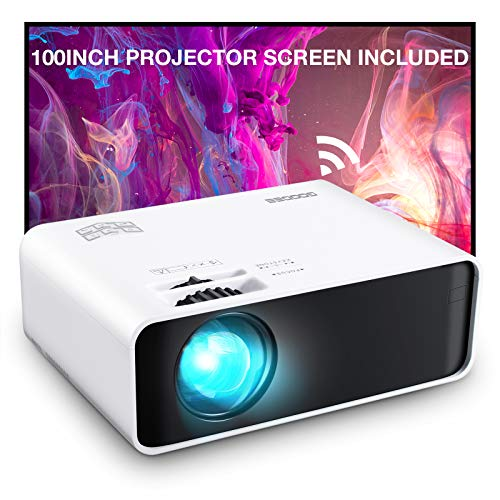 Projector, GooDee WiFi Mini Projector with Projector Screen, Synchronize...