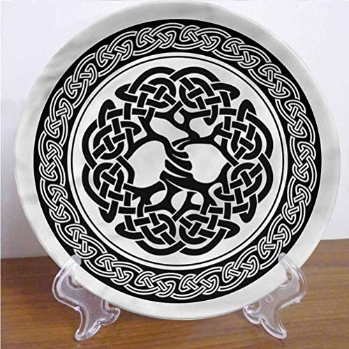 Channing Southey 8 Inch Celtic 3D Printed Decorative Plate,Native Tree of Life Art Round Porcelain Ceramic Plate Decor Accessory for Pasta, Salad,Party Kitchen Home Decor
