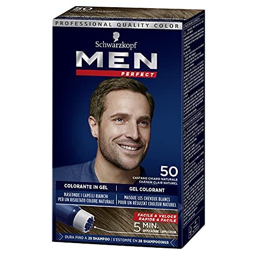 Schwarzkopf - Men Perfect - Gel Colorant Anti-Cheveux Blancs Homme - Coloration Cheveux Homme - Châtain Clair Naturel 50