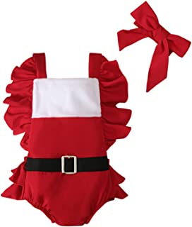Newborn Christmas Outfits Baby Girls Patchwork Square Collar Fly Sleeve Bodysuit + Bow Headband 2 Pcs Infant Clothes Set