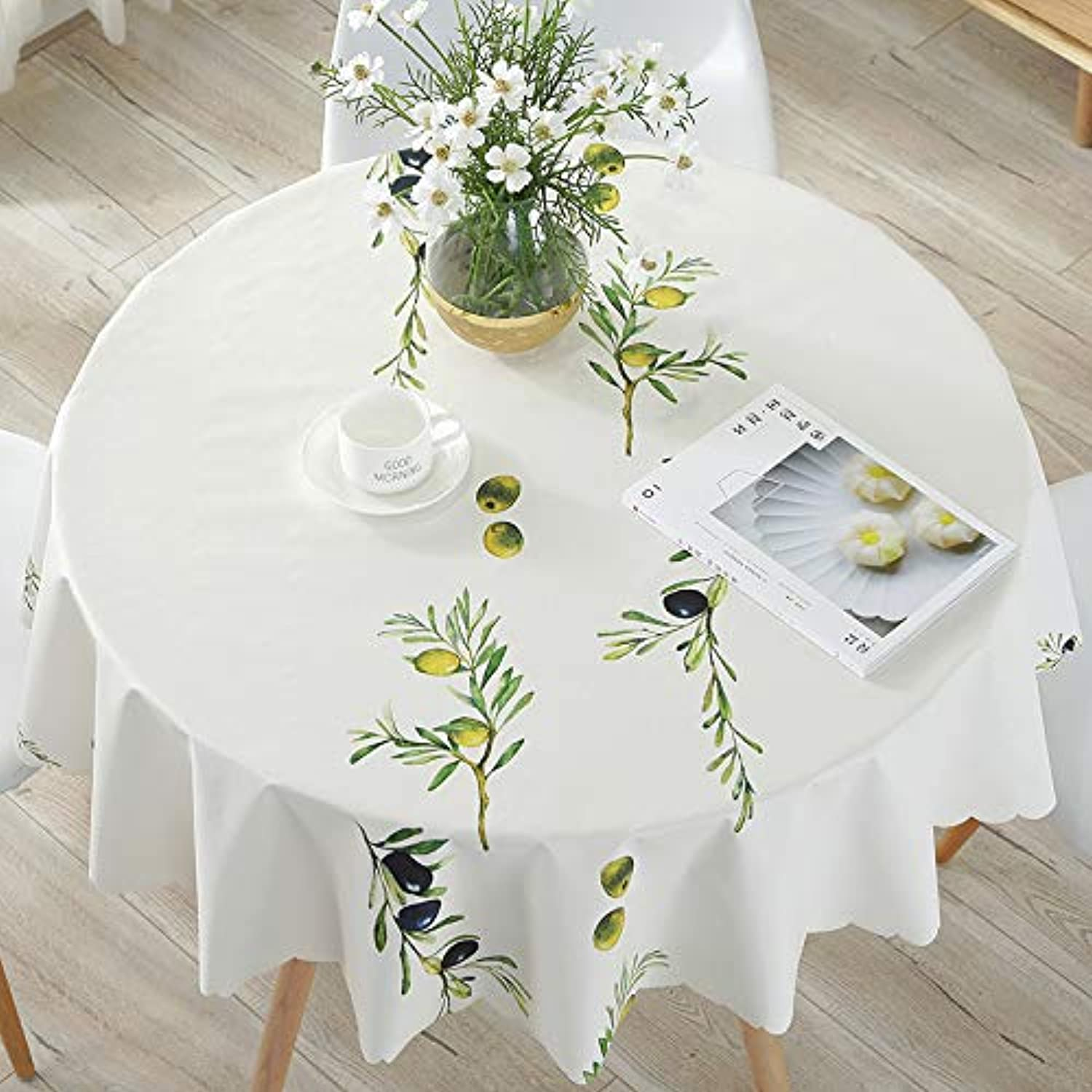 Creek Ywh Nordic PVC big round tablecloth fabric pad waterproof antiscalding oilproof disposable small round table cotton and linen small fresh, blueeberry fruit, 138 cm  180 cm