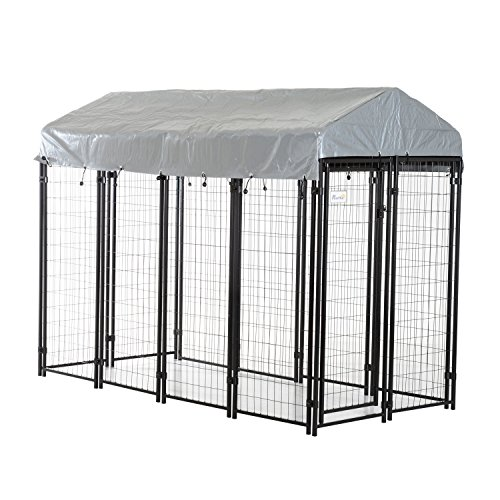 "PawHut 97"" x 46"" x 72"" Large Outdoor Dog Kennel Galvanized Steel Fence with UV-Resistant Oxford Cloth Roof & Secure Lock"